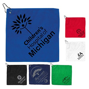 """The Wedge"" 300GSM Heavy Duty Microfiber Golf Towel w/Metal Grommet & Clip"
